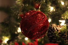 Sparkly Red Ornament (hopedorman) Tags: ornament christmas christmastree holidays festive red green sparkly macro rhinestones decoration