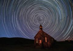 HOLY NIGHT  -  explored (alicecahill) Tags: starryskies night ©alicecahill church stars bodie circular startrails ca statepark california