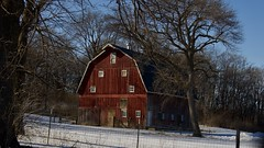 Hawkeye Barn (matttimmons1) Tags: barn red nature winter snow contrast architecture