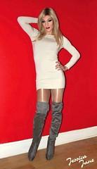 Cream Dress Jess (jessicajane9) Tags: tg crossdresser tgurl feminised tv xdress trans m2f transgender crossdress tranny feminization transvestite boots tights dress travesti pose blonde tgirl crossdressing femme cd