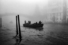 Is There Anybody Out There?       (?????) (photofitzp) Tags: accademia bw blackandwhite boat fog grandcanal italy venice vessel water anybodyoutthere