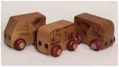 Toy Trucks (N.the.Kudzu) Tags: tabletop toys handmade wooden trucks canondslr meike 85mmf28 macro lens ringlight photoscape frame home