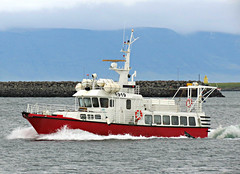 919 (Colorado Sands) Tags: boat nauticalvessel harbor reykjavik iceland sandraleidholdt icelandic ferry passengerboat whalewatching ocean mountain water vessel sea 919