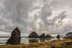 Stormy (KPortin) Tags: oregon pistolriver rockformations seastacks clouds ocean reflections grass