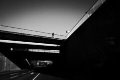 The sky is the limit (stefankamert) Tags: bridge street man people sky shadows light lines sun black blackandwhite blackwhite noir noiretblanc grain stefankamert ricoh gr grii ricohgr bw