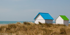 Overlooking the sea (Am@ndeen) Tags: normandy normandie france plage seaside ocean mer cabanes cabins two deux triptych nature blue green vert bleu travel discover water sky ciel above photography outdoors summer été voyage aventure souvenirs holidays vacances triptyque