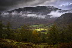 Low Hanging Cloud (Benjamin Driver) Tags: lakedistrict landscape landscapes lake district mountains mountain hill hills light spot spotlight cloud clouds trees dark darkness green yellow moody atmosphere scape