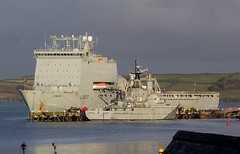 Royal Fleet Auxilary RFA Lyme Bay @ Falmouth Docks, Cornwall. (PoSm Photography) Tags: royal fleet auxilary rfa lyme bay falmouth docks cornwall ship sea navy boat military force docked berthed maintenance refit rmas blue sky cloud rain