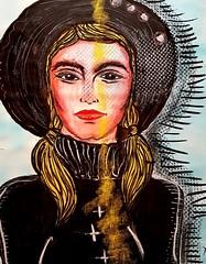 Chapeau Noir (franck.sastre) Tags: art painting miradas miroir espejo ojos eyes lips labios mujer colors