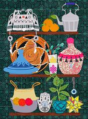 Moroccan Shelf  by Elisandra 2019 (Sevenstar aka Elisandra) Tags: moroc moroccan style home decor elisandra illustration shelfie treasures berber amazigh art print