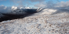 Glen Coe (Photomerge) - Feb 2019 (GOR44Photographic@Gmail.com) Tags: threesisters gor44 glen coe argyll scotland a82 snow white winter cloud munro corbett buachailleetivemor buachailleetivebeag stobdearg beinnachrulaiste panasonic olympus g9 1240mmf28 hills mountains highlands