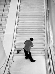 Making the World a Little Cleaner (CVerwaal) Tags: blackandwhite stairs workmen newyork ny usa olympusem5 mzuiko17mmf18 batteryparkcity