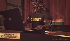 The Desk of Justice (Krull Darkshine) Tags: aesthetic beast charr sl secondlife rp roleplay 2018 guildwars2 avatar character warrior legionnaire anthro anthropomorphic ironlegion fantasy muscle biceps arms sheriff police cop officer deputy chief bogo computer work typing paperwork law enforcement woodland county department