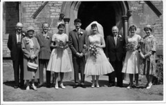 IMG_0098 Roy and Veda Spafford Wedding with Ernest and Evelyn Kate Spafford Geoff Spafford and Gilbert Togood Scawby Parish Church of Saint Hybald's  20th June 1959 (photographer695) Tags: roy veda wedding scawby parish church saint hybalds spafford group photo 20th june 1959 with ernest evelyn kate geoff gilbert togood