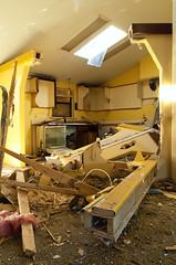 Let's Order Out (ⓦeͤ █ iͥ rͬ dͩLiͥ █ G̷̃̊̏̂̓͂̅) Tags: abandoned urbex exploring urbanexploration decay asbestos damage derelict trespass vacant destroyed home house interior indoors kitchen yellow skylight colorado abstract