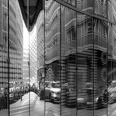 Reflections 8 (Récard) Tags: glas facade reflection abstract cars bw sw streets
