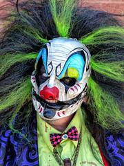 Scary Clown With A Pig's Nose (J Wells S) Tags: portrait candidportraitevil clownhorrorhound weekendpig noseface paintwhite facesharonville convention centersharonvillecincinnatiohiobloodscary clown