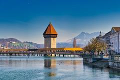 Luzern/Schweiz 21. März 2019 (karlheinz klingbeil) Tags: turm suisse fluss bridge schweiz tower water switzerland stadt brücke river wasser luzern city kantonluzern ch