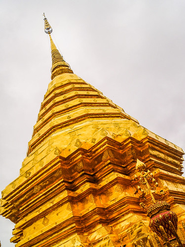 Golden pagoda at Wat Phra That Doi Suthep Temple Chiang Mai , Thailand