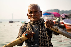 Boatman on the Ganges (Wits End Photography) Tags: boatman prayagraj kumbh2019 beach tents river india water streetphotography boats kumbhmela allahabad kumbh coastal coastline landscape nature nautical outdoor people sand seashore seaside shore street watercourse waterway