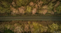 Above the tracks (Steve Samosa Photography) Tags: railway tracks winter woodlands trees aerial aerialview aerialphotography aerialshot stevesamosaphotography sthelens rainford droneshot drone droneview dronecamera