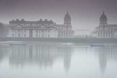 Mist on Thames. (daveknight1946) Tags: greatphotographers london docklands greenwich royalnavelcollrge reflection mist barge water riverthamea greaterphotographers
