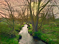 The quiet waters by (Jan 130) Tags: jan130 spring2019 walkswithmarnie digitalpainting plantsbrook textured englanduk trees stream brook fromabridge topazstudio picmonkey