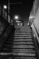 (Jean-Luc Léopoldi) Tags: bw noiretblanc soir escalier gare éclairagepublic désert montée marches steps abribus