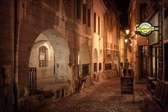 Bielsko-Biała - old town (Rafael Zenon Wagner) Tags: city stadt lichter lights 40mm altstadt oldtown nacht night charm charming kopf stein pflaster