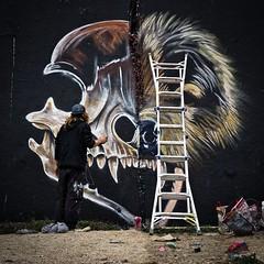 Artist at work (Jim Nix / Nomadic Pursuits) Tags: austin graffitiwall sonya7ii sony 50mmf18 primelens keepaustinweird jimnix urbanart luminar skylum