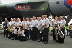 The Rayleigh Brass Band with Vulcan XL426 at Southend Airport 17.06.18 (Trevor Bruford) Tags: vrt vulcan restoration trust xl426 southend airport avro nuclear bomber cold war plane jet aircraft airplane aviation raf tin triangle delta lady royal air force rayleigh brass band