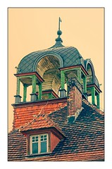 Mansard roof (elzbietafazel) Tags: roofgable tiles architecture architecturaldetail pinnacle turret mansard gable chimney window rooftop gniewkowo poland building house framed vertical tawnhall urban city europe