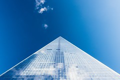Blue Building Top / (theagif) Tags: building skyscraper tower sky office architecture triangle pyramid tall window structure looking up free stock photos blue