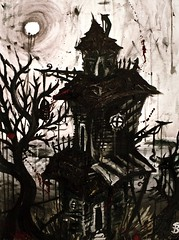 A Sense of Insufferable Gloom (Skyler Brown Art) Tags: acrylic angst architecture art artwork canvas creepy dark goth gothic haunted paint painting tree