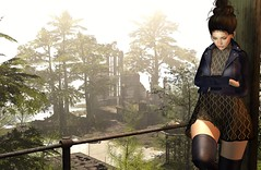 Been lying to myself for so long (Chelsea Chaplynski ( Amity77 inworld)) Tags: sense event bdr beautiful dirty rich chelsea sintiklia hair jacket dress boots valium sim scenery secondlife sl