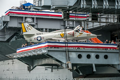 A-4 Skyhawk on USS Midway (Serendigity) Tags: cv41 california navy pacificocean sandiego usa usn ussmidway unitedstates aircraftcarrier floating heritage jet maritime museum ocean sea seafront shoreline waterfront unitedstatesofamerica