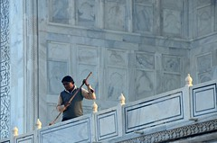Marble Sweep (Pedestrian Photographer) Tags: sweep sweeping maintenance man male work working taj mahal mausoleum agra india indian broom early morning sunny morn sunrise am