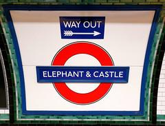 Elephant & Castle (R~P~M) Tags: london england uk unitedkingdom greatbritain tube londonunderground train railway station sign nameboard roundel elephantcastle northernline enamel vitreousenamel