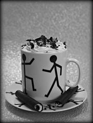 2019 Sydney: B&W Coffee + Wafer Biscuit (dominotic) Tags: 2019 food bwwalkingmancoffeemugandsaucer biscuit viennacoffee yᑌᗰᗰy coffeeobsession whippedcream blackandwhite sydney australia