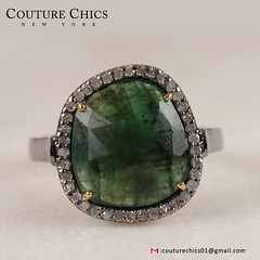 Emerald Gemstone Ring 925 Sterling Silver Pave Diamond 14k Gold Handmade Jewelry (couturechics.facebook1) Tags: emerald gemstone ring 925 sterling silver pave diamond 14k gold handmade jewelry