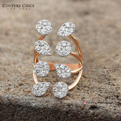 Natural Diamond Pave Designer Cocktail Ring Leaf Shape 18K Rose Gold Fashion Jewelry (couturechics.facebook1) Tags: natural diamond pave designer cocktail ring leaf shape 18k rose gold fashion jewelry