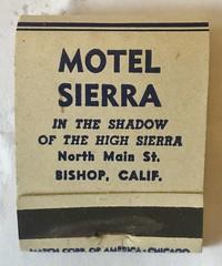 MOTEL SIERRA BISHOP CALIF (ussiwojima) Tags: motelsierra motel bishop california advertising matchbook matchcover