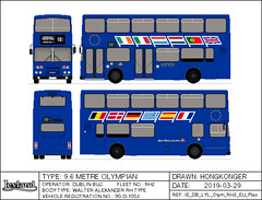 Dublin Bus Leyland Olympian RH2 in EC Presidency Euro Livery (Hongkonger's Collection) Tags: busdrawing dublinbus busathacliath ireland republicofireland ecpresidency europeanunion 1990 leyland olympian rh2 90d1002 counciloftheeuropeanunion eu europe dublin
