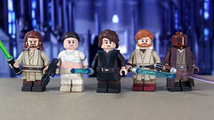 Prequel Trilogy Heroes (LegoMatic9) Tags: custom lego star wars the phantom menace attack clones revenge sith prequl trilogy padme amidala qui gon jinn obi wan kenobi anakin skywalker mace windu heroes protagonists