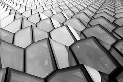 - Harpa - (Jacqueline ter Haar) Tags: facade reykjavik olafureliasson lookingup harpabatteríiðarchitects henninglarsenarchitects structure bw
