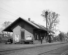 Boston & Maine Lancaster, MA Station in 1938 (Houghton's RailImages) Tags: lancaster depot station bostonmaine bw trains locomotives massachusetts usa railroad