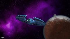 Final Approach (maspick) Tags: space stars nebula planet moon spacecraft black white pink blue orange brown green iowa unitedstates usa