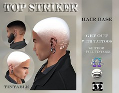 TOP STRIKER HAIR BASE GET OUT- WHITE OR TINTABLE (Top Striker) Tags: topstriker tattoo slink signature omega maitrey belleza tatoo applier meshbody commotionevent exclusive