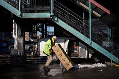 Resupply (dtanist) Tags: nyc newyork newyorkcity new york city sony a7 7artisans 35mm brooklyn bensonhurst 20th avenue station mta subway stairs beverage supplier resupply van hand cart push