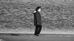 Seaside Strolling 03 (byronv2) Tags: edinburgh edimbourg scotland sea seaside coast coastal peoplewatching candid street walking water river rnbforth firthofforth riverforth forth portobello blackandwhite blackwhite bw monochrome woman